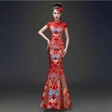 Традиционный китайский Oriental Платья для женщин Свадьба Qipao платье Новинка 2017 года Cheongsam невесты длинные женские дракон феникс Vestido красный QI Pao