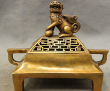 SCY S0606 Cina Bronze Buddha Singa Foo Fu Dog Statue berongga-out Dupa Burner Pedupaan(China)