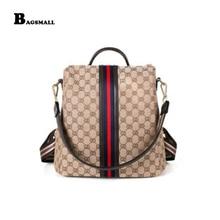 BAGSMALL flera användningsområden mochila Kvinnor Ryggsäck För Flickor Mode Ryggsäckar Casual Kvinnlig PU Läder Skola Daypack Bag