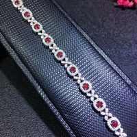 Shilovem 925 sterling silver reale naturale Bracciali Rubino gioielli alla moda delle donne del partito nuovo impianto da sposa 4*5mm bl040501agh