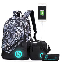 Boy Girl Unisex 20L with USB Charging Port Fashion School Bag Backpack Bookbag with Florescent Mark 2/3 Sets OR Ball Net Single