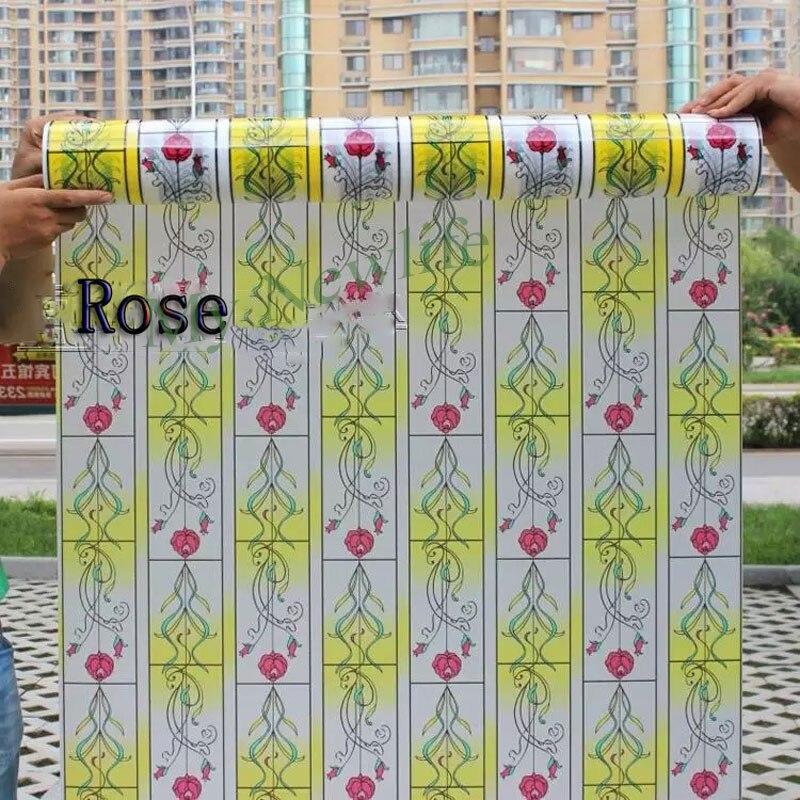 Rose fleurs teinté verre dépoli autocollants fenêtre film autocollant électrostatique auto-adhésif décoratif films décor à la maison 90*200 cm