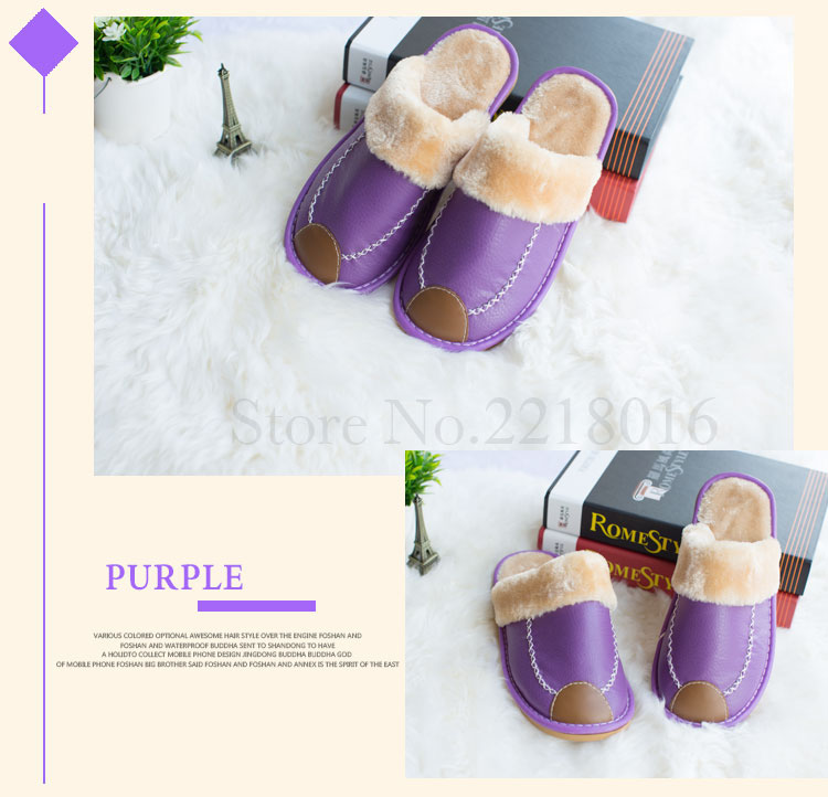 520cd67ea03 Plus Size 35-44 Genuine Leather Warm Winter Home Slippers Non-Slip Thick Warm  House Shoes Cotton Women Men Slippers 8 Colors