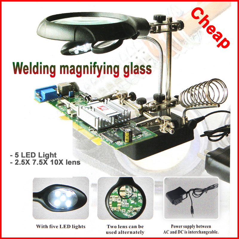 Keevitus luup 5 LED-valgusti 2.5X 7.5X 10X objektiiv lisaklamber töölaua luup kolmanda käe jootmiseks parandusvahend