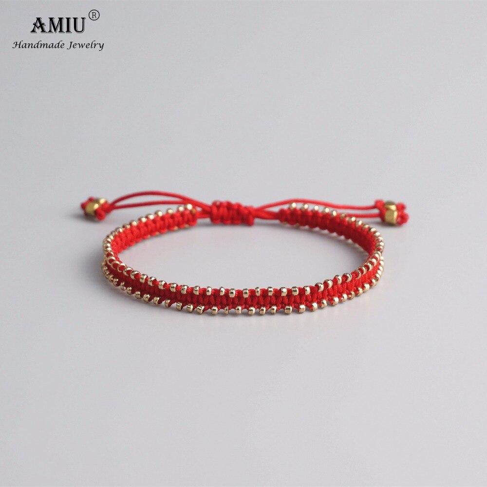 AMIU בעבודת יד ידידות צמיד Hippy צבעוני אהבת בציר מזל צמידים וצמידים לנשים וגברים קסם צמיד 2018