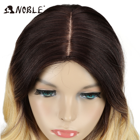 Noble T Part Lace Front ombre blonde Wig 24 Inch Long Wavy Synthetic Wigs Full I Part Wigs 4 Colors Choice Free Shipping Multan