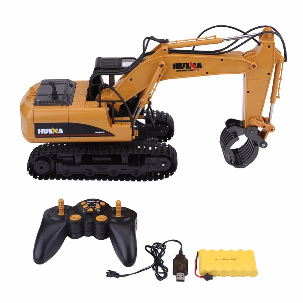 2.4G 16CH Remote Control RC Engineering Truck Alloy Log Grab Remote Control Vehicle Toy with USB Cable RC Truck Toys For Boys