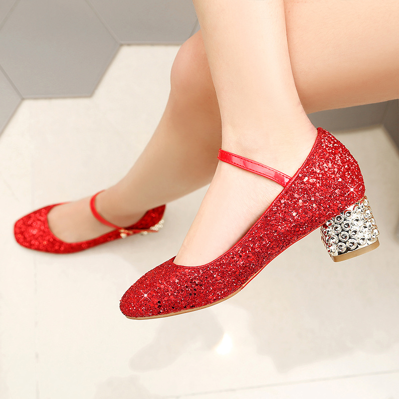 Girls Shoes Princess Red 2019 Autumn New Dance Big Girl Faux Leather Shoe Prinses Schoenen Meisje Gold Silve High Heel R