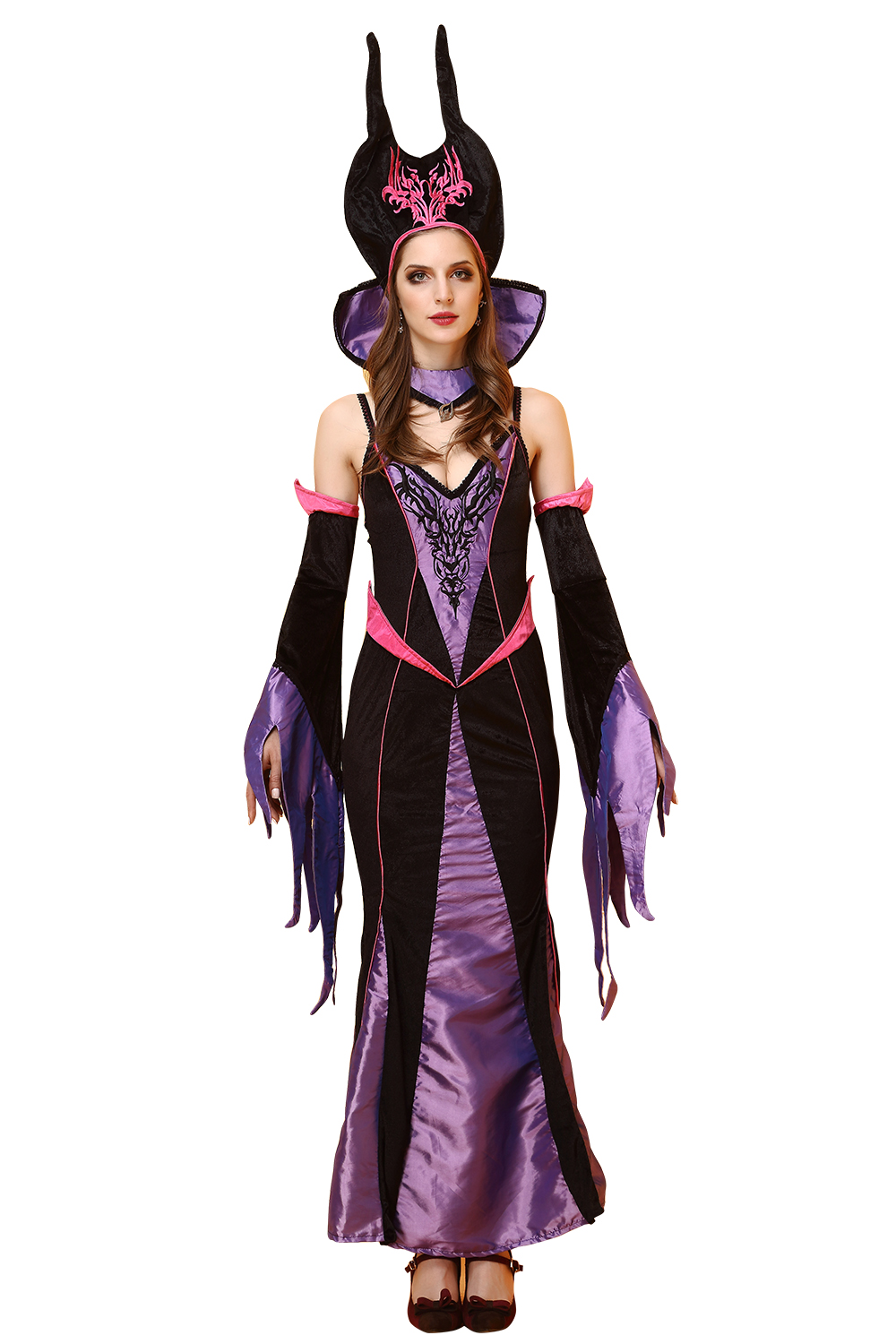 Adults Halloween Costumes For Women Witch Cosplay Disfraces Adultos Movie Maleficent Costume Disfraz Mujer Black Dress EU958