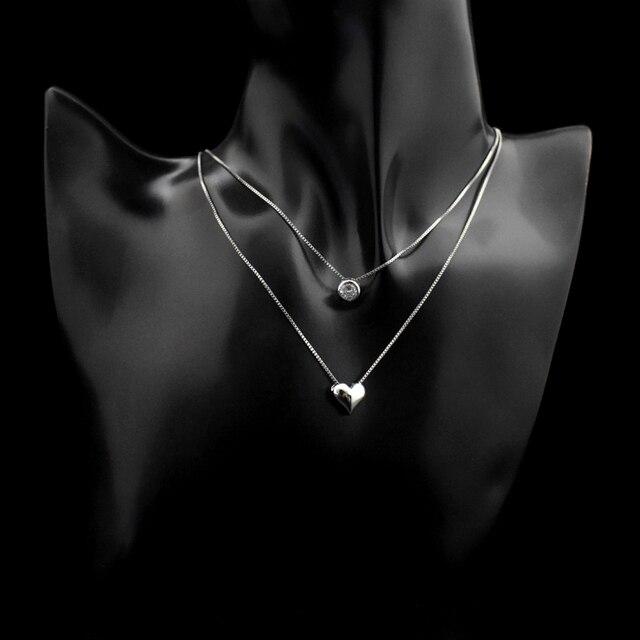 женское двухслойное ожерелье из стерлингового серебра 925 пробы фотография