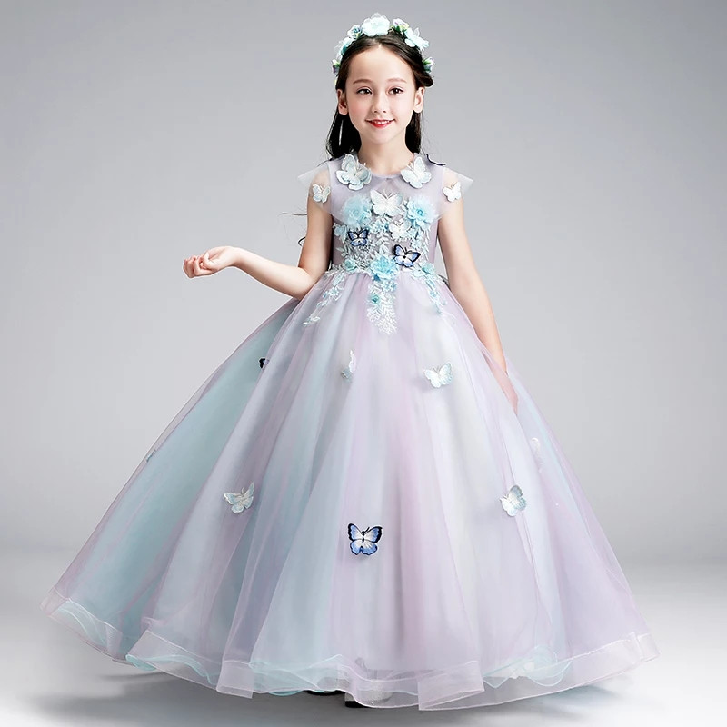 Appliques Flowers Girls Evening Party Dress 2019 Summer New Long Dress For Kids Party Birthday Prom