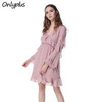 ONLY PLUS Spring New Chiffon Ruffles Dress PFairy Sakura Pink dress Long Sleeve lotus leaf Pleat Waist V Neck Sexy Women Holiday