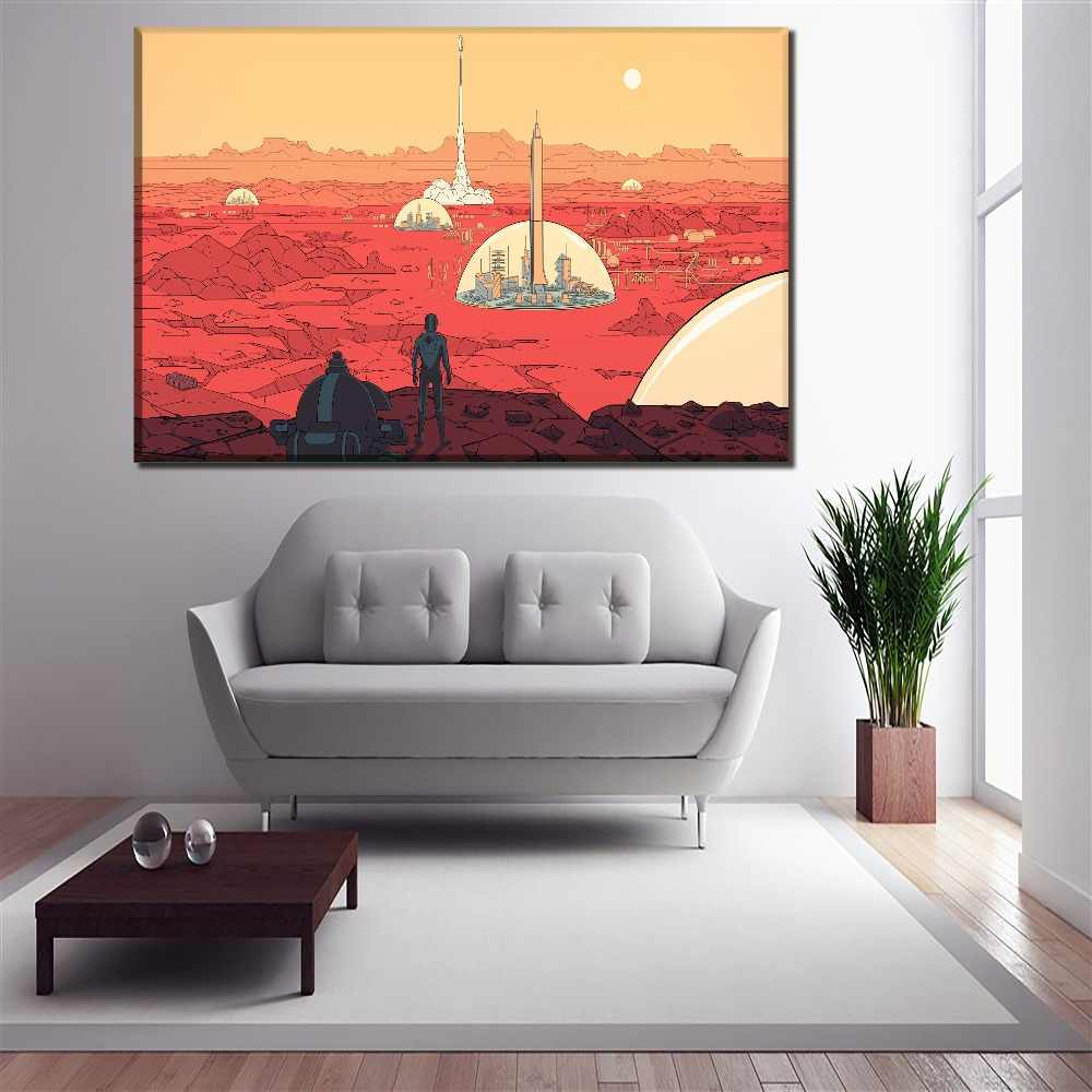 Canvas Pictures Home Decor Frame 1 Piece/4 Pcs Human Surviving In Mars Artwork Painting Print Poster For Living Room Wall Art