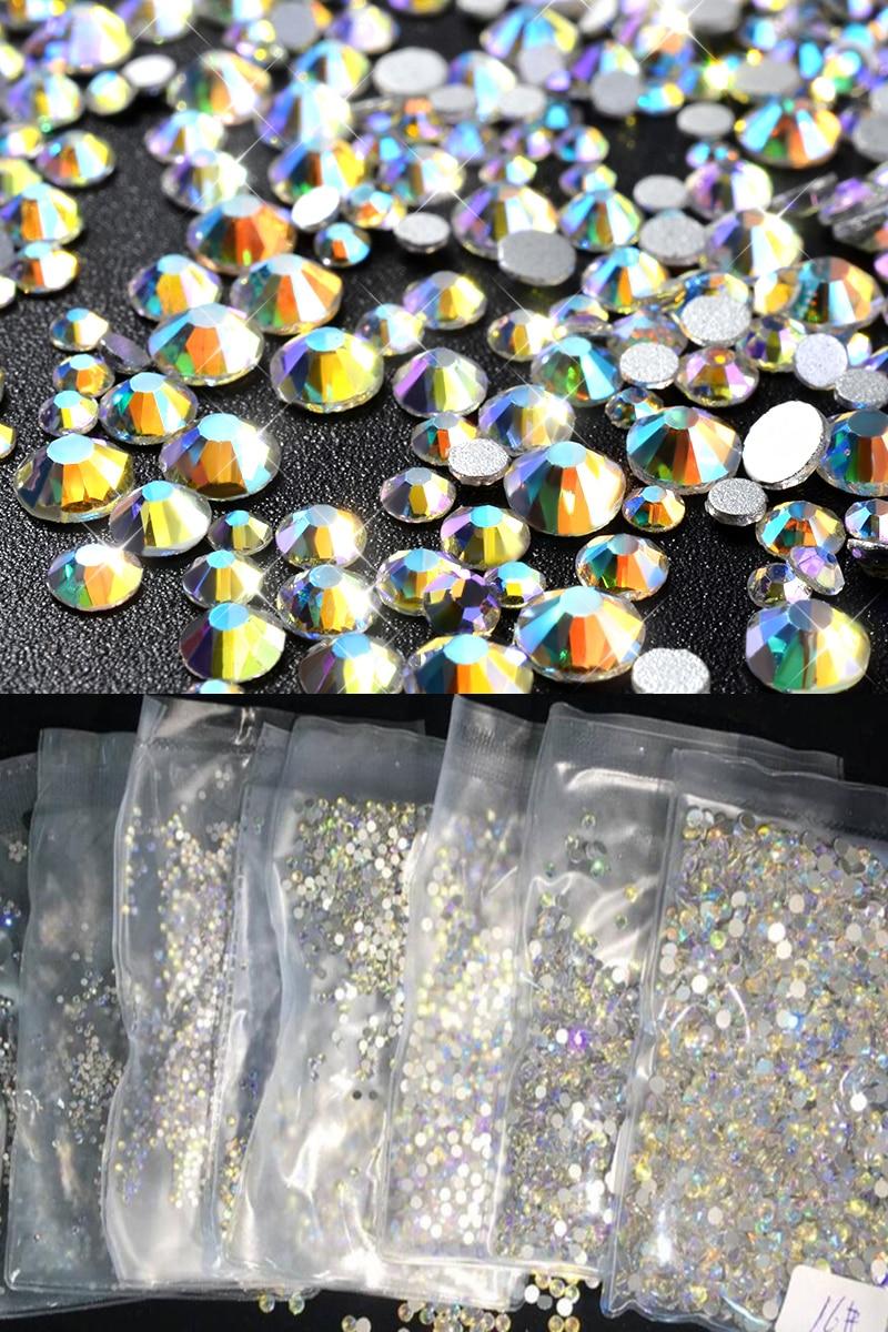 1 Pack 1440pcs Flatback(1/2/3/4mm) Nail Rhinestones SS3-SS16 Art Decoration Paradise Stone Decorations Glass