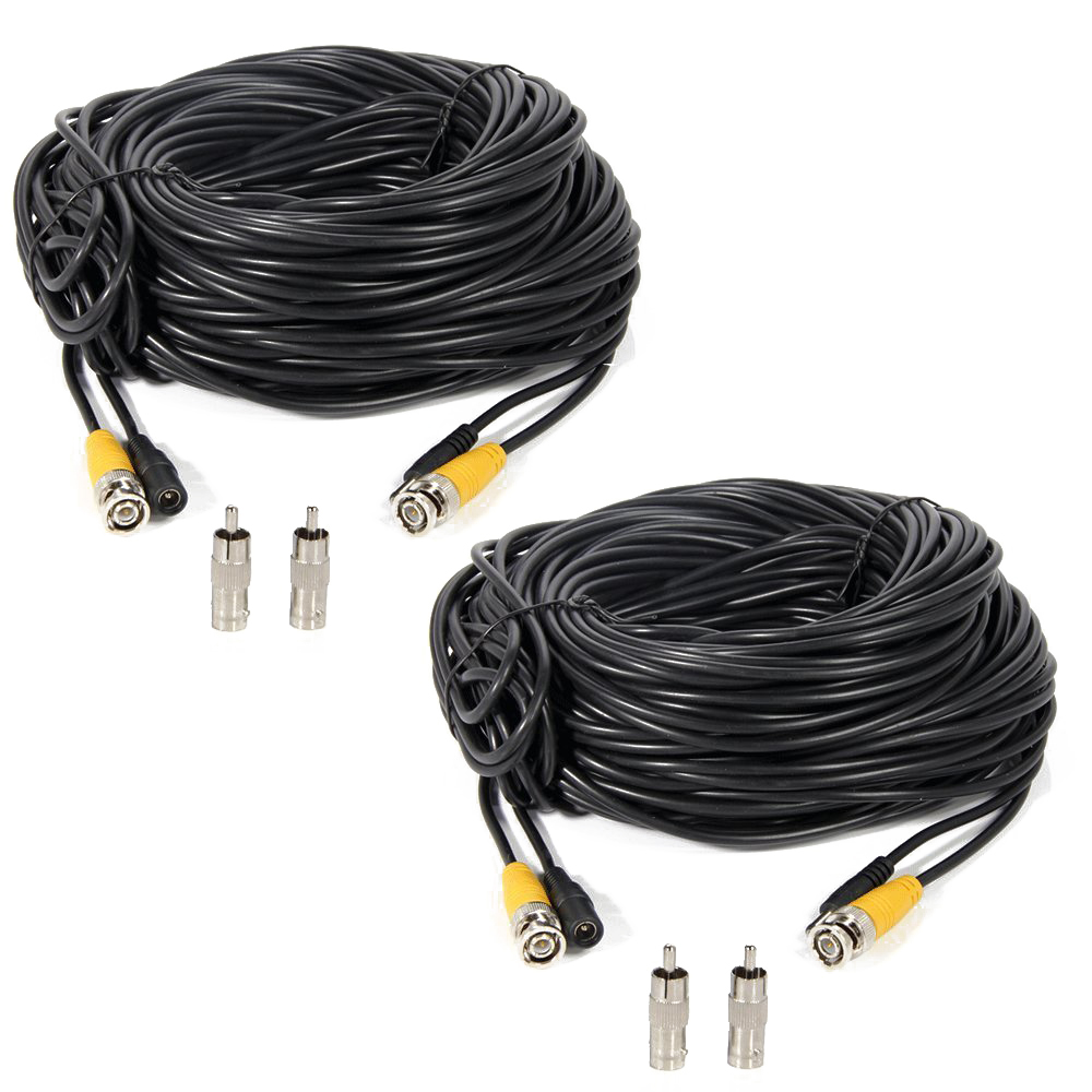 black 2 Pcs 150ft Video Power Extension Cable Wire for CCTV DVR CCD Security Cameras Surveillance System with BNC to RCA Adaptor