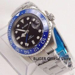 BLIGER 40mm czarna tarcza automatyczne zegarek męski GMT funkcja Auto data niebieski obrotowy Bezel