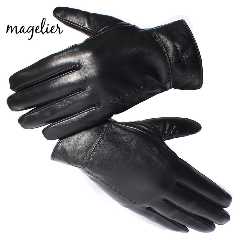 Magelier Mens Winter Lambskin Sheepskin Nappa Gloves Leather Driving Gloves