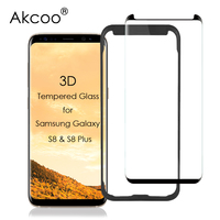 Akcoo 프리미엄 s8 화면 보호기 삼성 s8plus 3d 곡선 tempere 유리 스크린 필름 케이스 친화적 인 버전 무료 설치 트레이