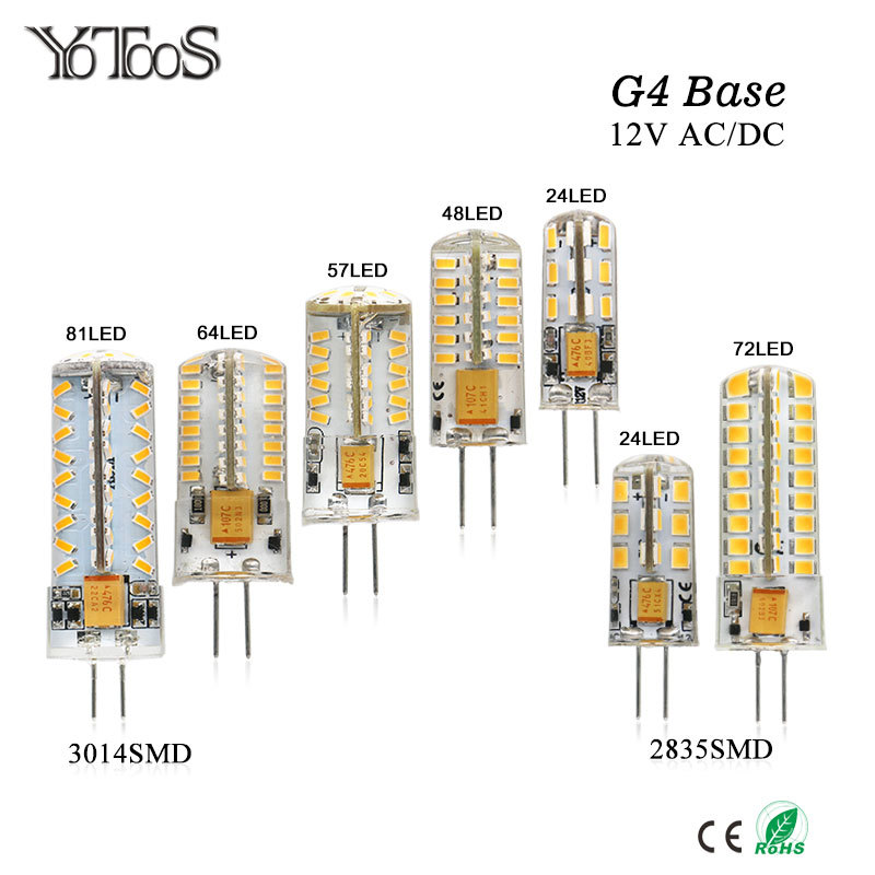 YOTOOS G4 LED Lamp 12V AC/DC Corn Light 1.5w 2w 3w 4w 360 Beam angle Bulb g4 Led Lamp Replace Chandelier Crystal halogen Light