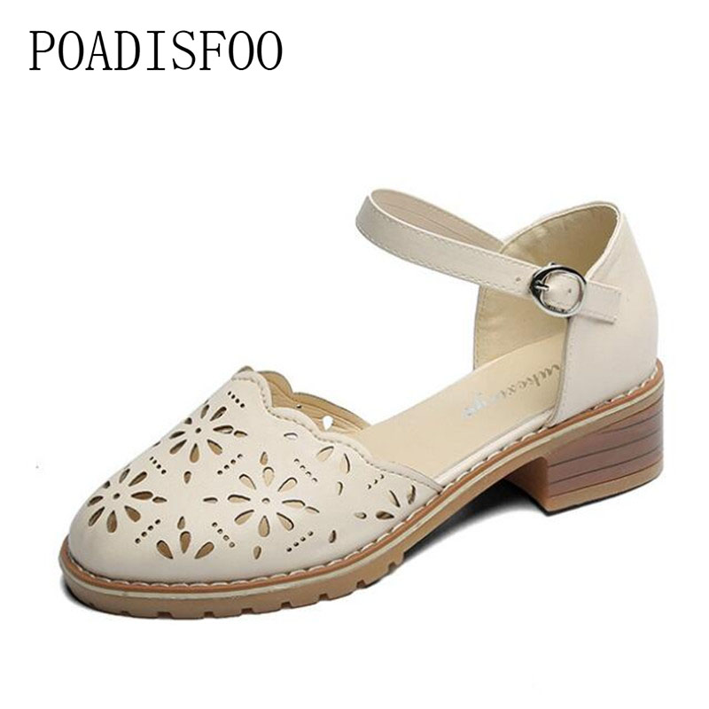 POADISFOO 2018 Summer New College style Sandals Round toe Hollowed Low heeled women shoes sold color shoes for ladies  .DFGD-808 poadisfoo 2017 new summer style slip on women sandals flats for women black white color slippers shoes women hykl 1603