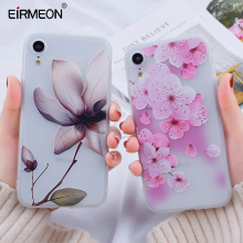 3D Relief Case For iPhone 7 8 Plus XR 6s Cover XS Max X Soft TPU Matte Floral Back Phone Cute Capa