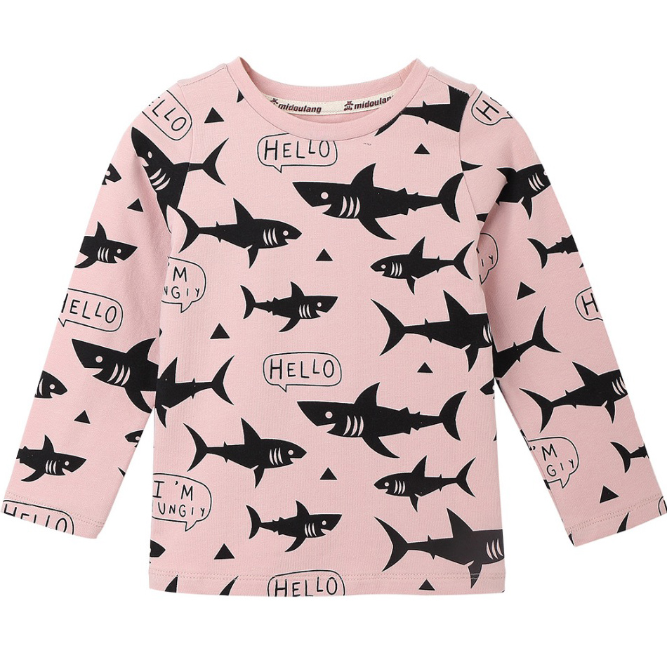 Shark Pattern Kids T-shirts For Girls Children T Shirts For Boys Long Sleeve Tops Baby Blouses O-neck tshirt Cotton Clothing burgundy pleated design v neck long sleeves t shirts
