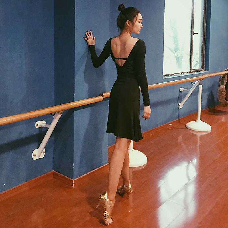 Sexy Backless Latin Dress For Women Black Ballroom Tango Salsa Dancing Practice Wear Cha Cha Samba Rumba Perform Clothes DC1712