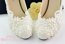 New arrival white wedding shoes pearl lace bridal/bridesmaid shoes  high heels shoes dance shoes women pumps