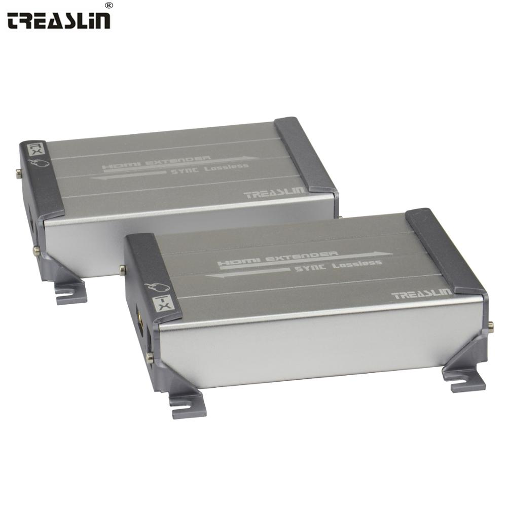 TreasLin KVM HDMI Extender pour Ordinateur 80 mètres USB HDMI Transmission sur Cat5 Cat5e Cat6 LAN Câble KVM Extender pour KTV Banque