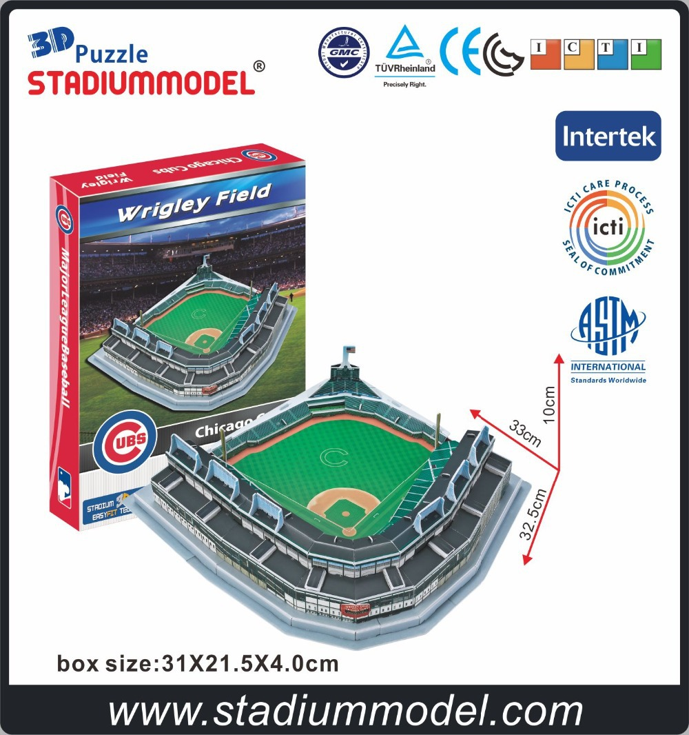 Major LeagueBaseball MLB Chicago Cubs Hjem Wrigley Field Stadium 3D Puslespil Model Paper