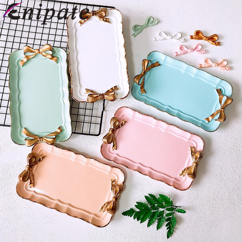 European Style Bow Cake Storage Trays Makeup Organizer Dessert Plate Square Decor Tray Kitchen Storage Trays