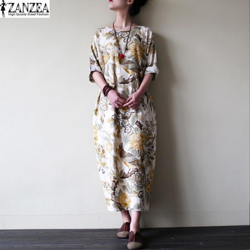 M-5xl zanzea mujeres vintage floral impresión de algodón de lino del algodón de