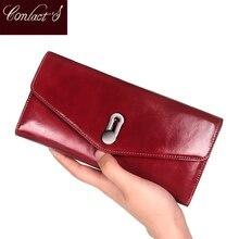 Kontakty nowa portmonetka z prawdziwej skóry dla kobiet kobieta etui na karty moneta torebka Zipper portfel długie portfele Cartera