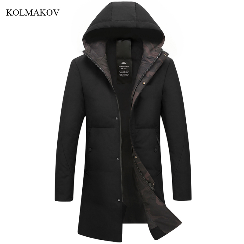New Arrival Winter Style Men Boutique Long   Down     Coats   Fashion Casual Slim Thick Solid Men's White Duck   Down   Jacket Size M-3XL