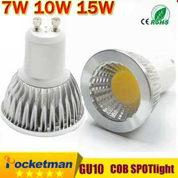 Super Bright GU10 Bulbs Light Dimmable Led Warm/White 85-265V 7W 10W 15W LED GU10 COB LED lamp light GU 10 led Spotlight z53 image