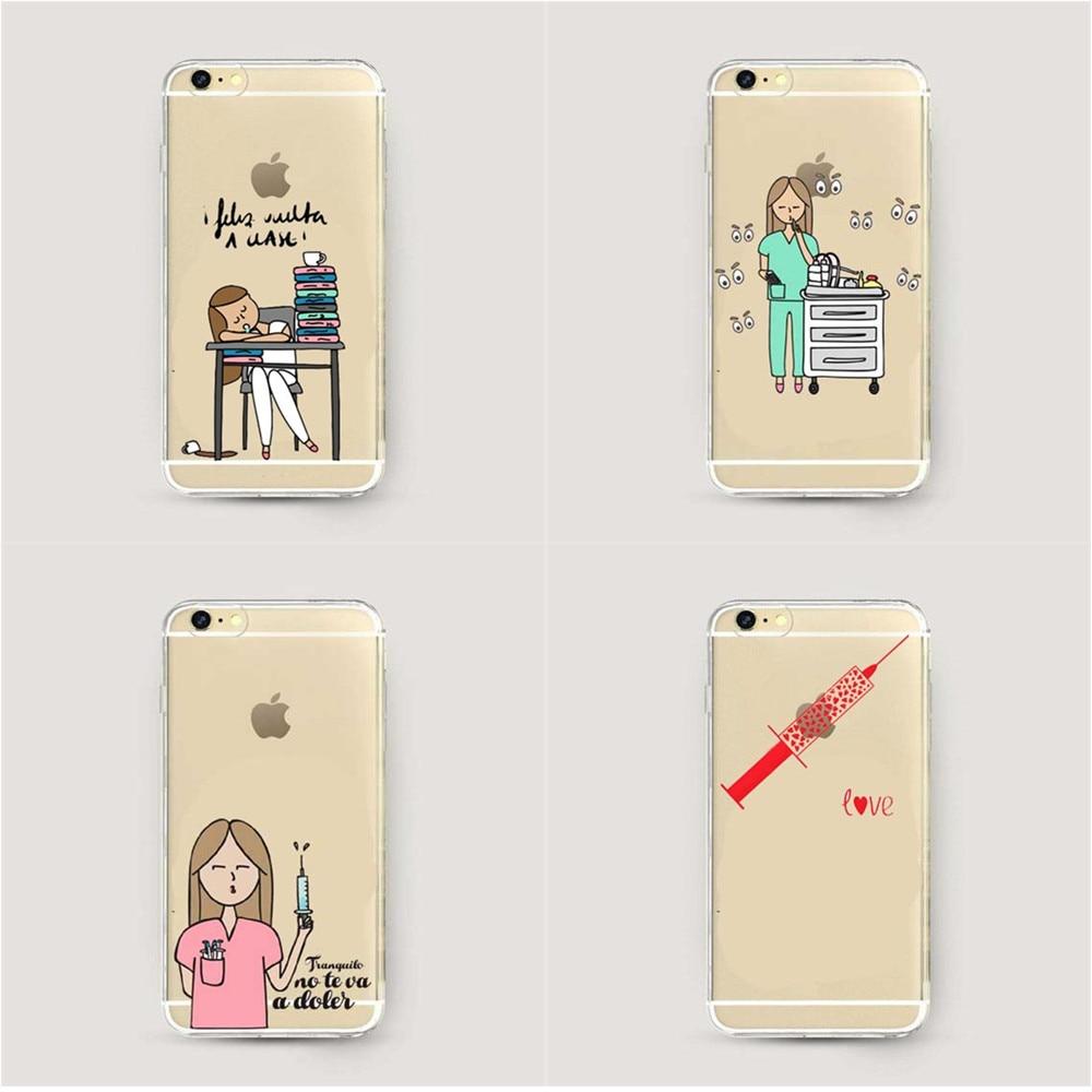 ebc9a05039 Cartoon Clear Nurse Doctor Dentist Clear Soft silicone TPU Phone Case For  Apple iPhone X 10 5 5S SE 6 6S Plus 7 7 Plus 8 8 Plus