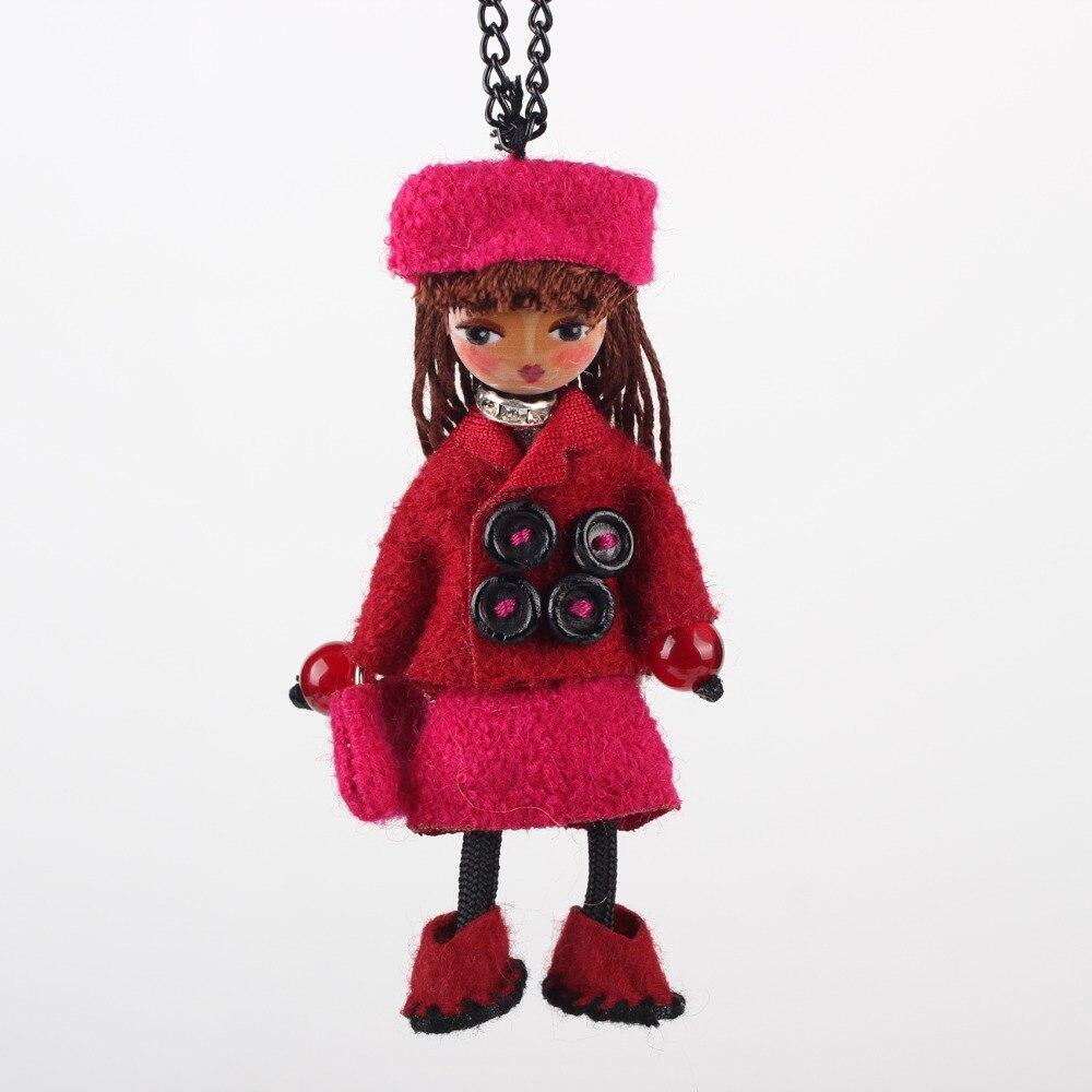 Bonsny手作り人形ネックレスロングドレスチャーム合金ペンダント2016ファッションジュエリー女性のための