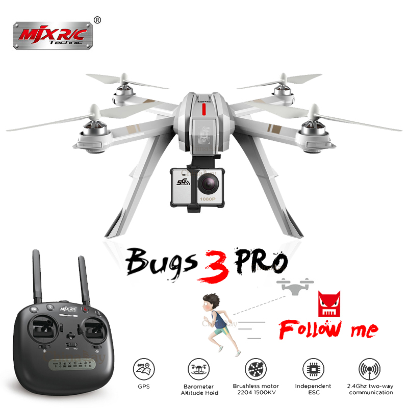 Newest MJX Bugs 3 Pro Drone With 1080/4K Wifi FPV Camera Rc Helicopter GPS Follow Me Mode Brushless Quadcopter can Carry Eken H9