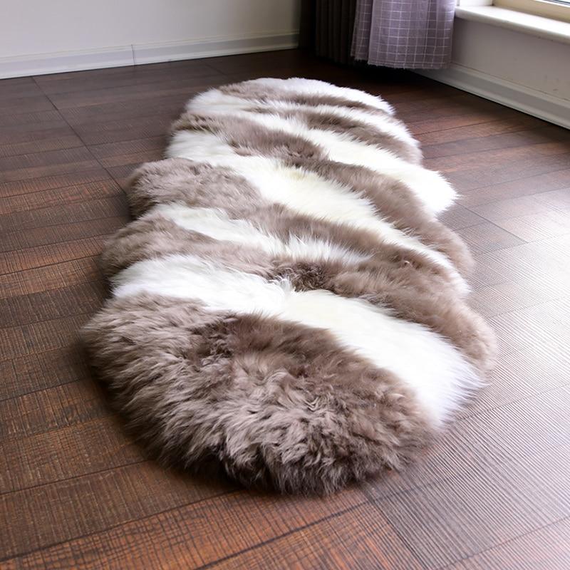 Us 199 0 Unique Design Coffee Zebra Pattern 2p 60 180cm New Zealand Sheepskin Rug For Bedside Carpet Sheep Fur Decoration Sofa Mat In From Home
