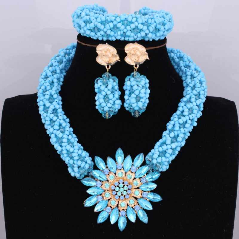 Bright Dubai Jewelry Sets Blue African Costume Jewelry Sets Indian Beads Necklace Set Christmas Boutonniere Bridal Party Gift