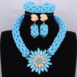 Image 1 - Bright Dubai Jewelry Sets Blue African Costume Jewelry Sets Indian Beads Necklace Set Christmas Boutonniere Bridal Party Gift
