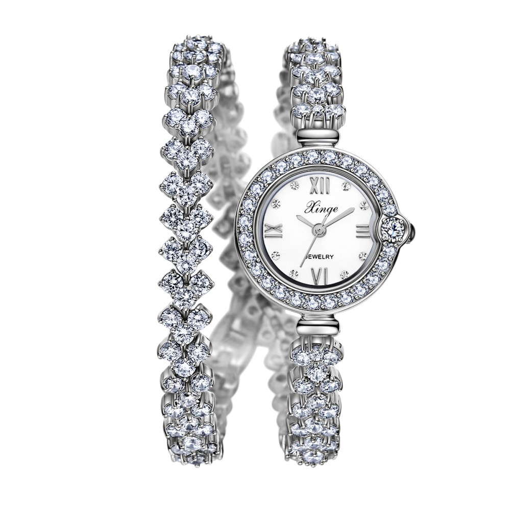 Luxurious 18k White Gold Platinum Clean Cubic Zircon Ladies watch High Quality Fashion Bracelet Wristwatch Jewelry Free Shipping free drop shipping 2017 newest europe hot sales fashion brand gt watch high quality men women gifts silicone sports wristwatch