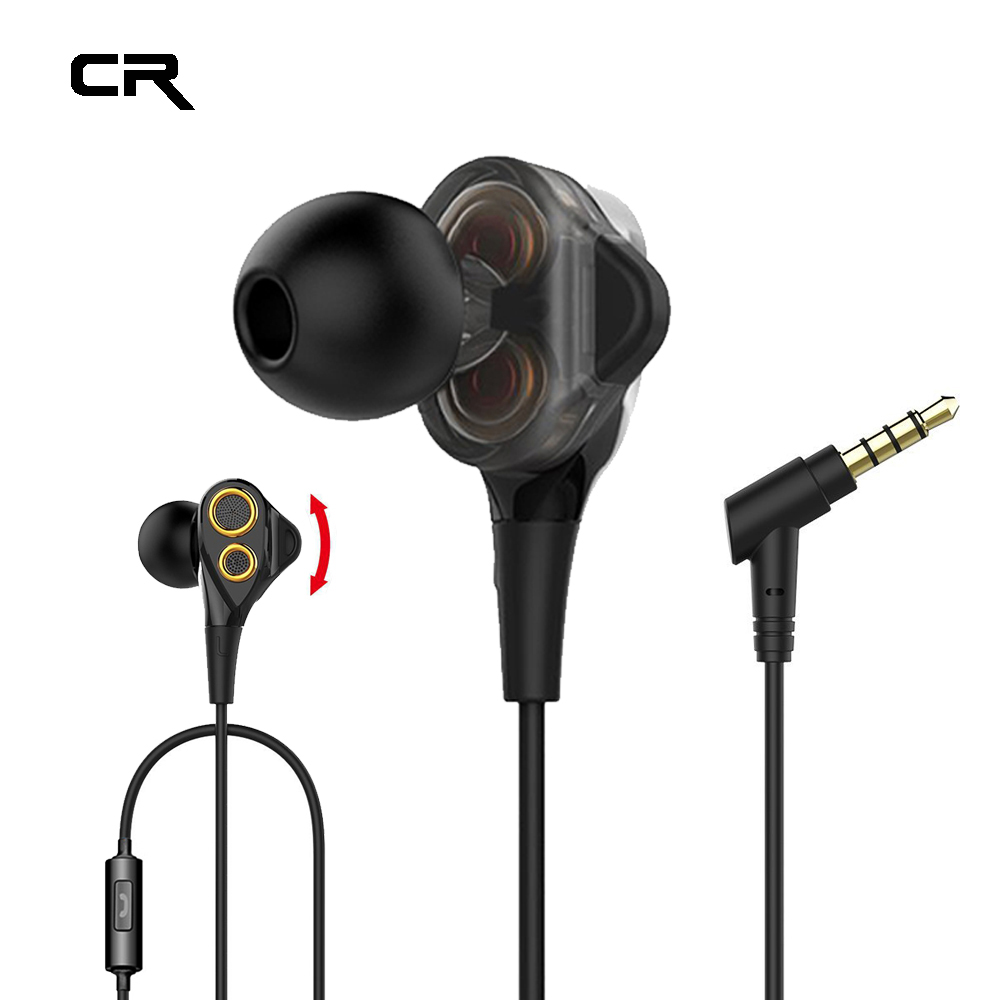 Stereo Bass Dual Drivers Headphones In-Ear Wired Earphones for Phone HiFi Earpieces With Mic 3.5mm For iPhone Cellphone Computer kz wired in ear earphones for phone iphone player headset stereo headphones with microphone earbuds headfone earpieces auricular