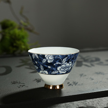 wanhua wanhua htd портативные рации гражданские коммерческие Jingdezhen pastel Wanhua flat cup ceramic blue white glaze flower Kung Fu tea single   set household items