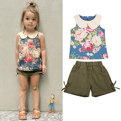 320aad93f8c4 2Pcs Floral Newborn Toddler Baby Girls Kids Summer Vest Tops Shorts ...
