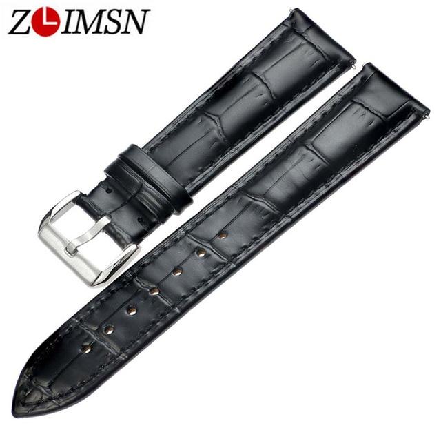 ZLIMSN New bracelet belt black watchbands genuine leather watch bands 18mm 20mm 22mm 24mm  men women watch accessories wristband