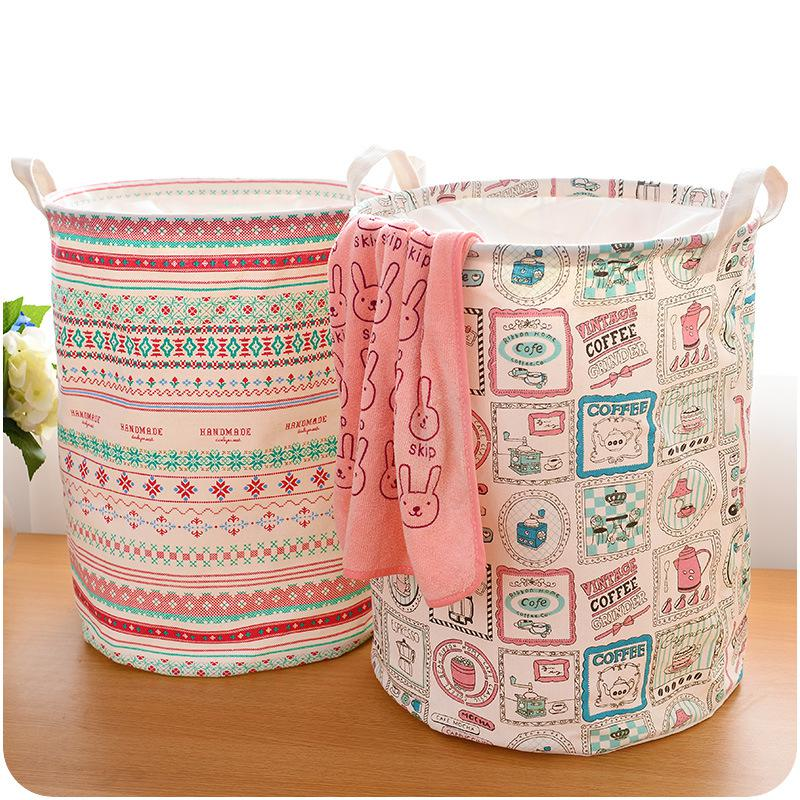 Foldable Cotton Linen Washing Clothes Laundry Basket Bag Hamper Storage Multi-function Handle Stackable Storage Toy Storage Box