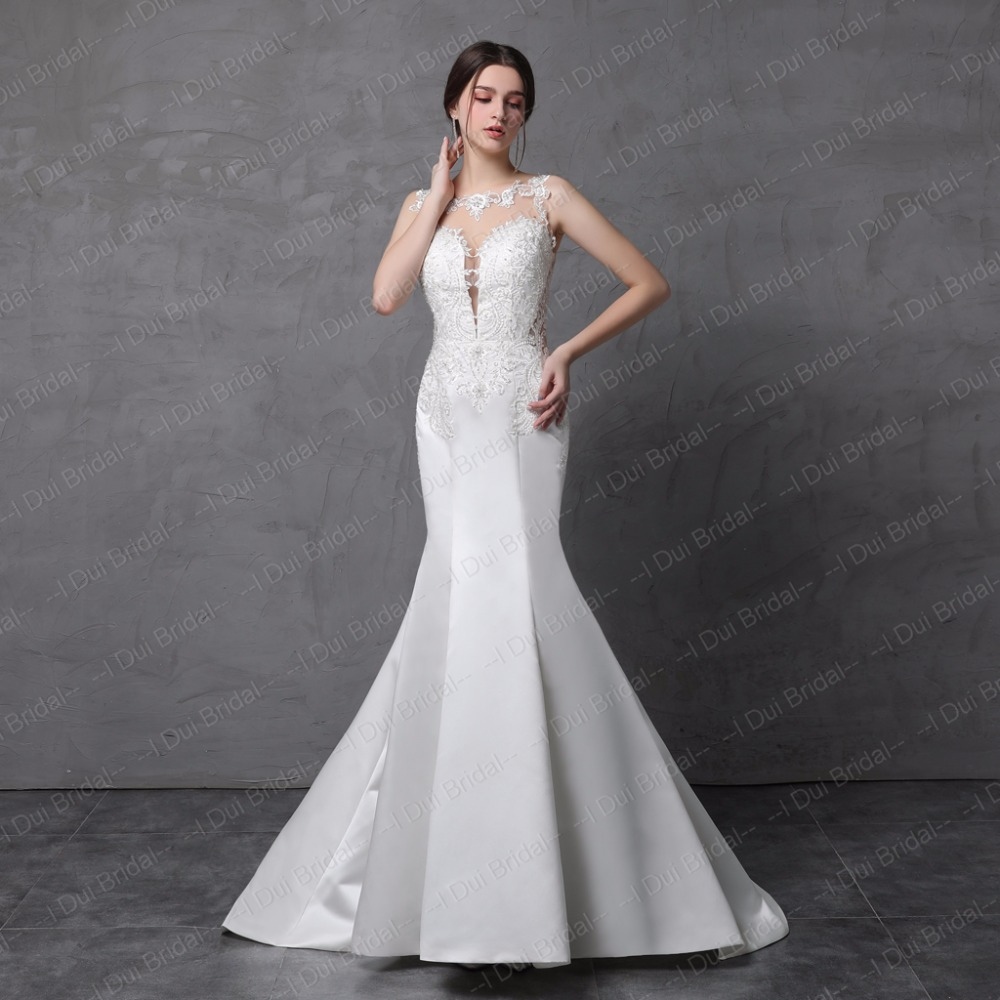 Satin Lace Mermaid Wedding Dress Illusion Back Sleeveless Bridal