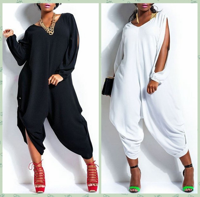 b96bf7ece93 White Black Long Sleeve Rompers Women Long Loose Baggy Jumpsuits Hip Hop  Harem Pants Playsuit Overalls Plus Size XXL XXXL D60601