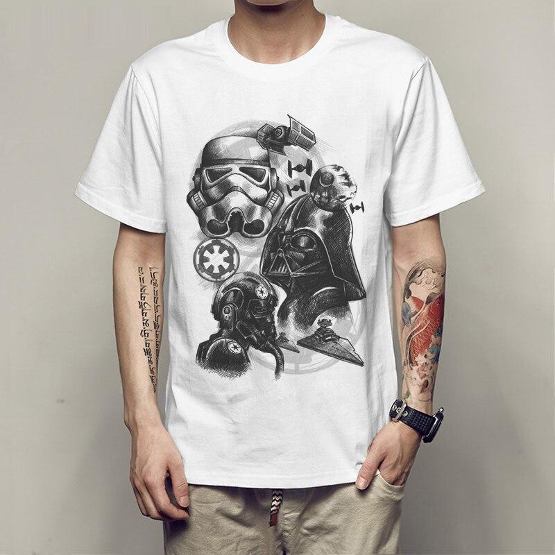 2017 men t shirt fashion Cool Star Wars Empire Sketch robot White hip pop funny t-shirt summer tee shirt homme de marque